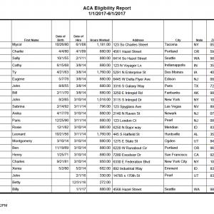 ACA Eligibility Report